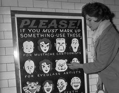 Anti graffiti subway posters, Grand Central, 1961Photographer unknown/uncredited (via)