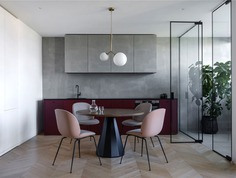 Open Plan Apartment Separated Only with Glass Panels - InteriorZine #kitchen #furniture #decor #interior #home #table #dining