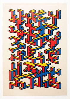 Plumbing A3 Screen print Four layer screen print topped withSericol oil based Gloss Varnish Zerkall 125gsm Edition of 10 #isometric #shapes #color