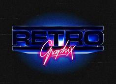 Overglow retrofuturistic logos