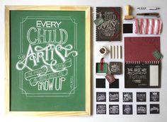 Chalkboard Lettering Stationery Set #chalkboard #typography