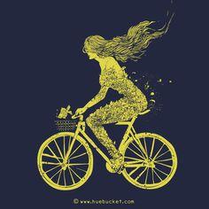 Wild Ride #wild #girl #ride #fish #bike #flower #mermaid