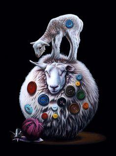 Sheep and lamb in animal art #surrealism #realism #painting #paintings #art #animal
