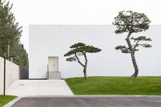 Box-shaped building with pine tree garden. Song Art Museum by Vermilion Zhou Design Group. © Xia Zhi. #architecture