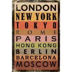Städte Poster Metropolen London Paris New York + Wechsel Rahmen Maxi aus schwerem MDF Holzfaserwerkstoff, Holzoptik Buche Nachbildung #cities #metropoles #typo #poster