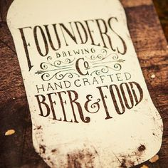 Founders Brewing Menu #beer #design #label #done #hand #typography