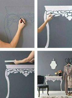 Mesita de pared - Vía truco ideas #DIY #table #minimal