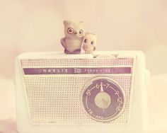 nursery art print owl decor babies room soft by TheGinghamOwl #radio #owl #vintage