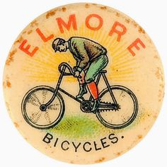 Letterology: The First Wearable Advertising #advertising #pin #illustration #vintage #bike #circle