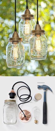 DIY Jar Lamp - Vía woonblog.typepad.com #DIY #lamp