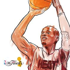NBA Finals 2014 Sketches on Behance #heat #ray #jesus #illustration #allen #nba #basketball #miami