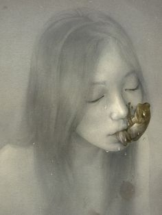 Absinthe Drinker, Sam Weber #girl #illustration #soft #absinthe #frog