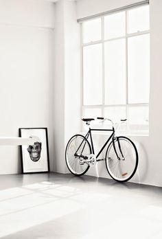 bike #interior #white #print #black #bike #window #skull #light