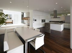 Contemporary kitchen with painting
