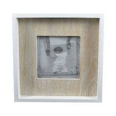 White/Natural MDF Box Photo Frame, 18cm x 18cm