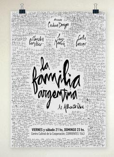 La Familia Argentina / Afiche de Teatro #white #theatre #black #typographic #poster #and