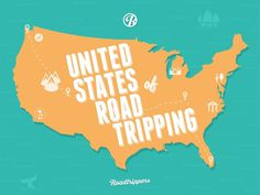 United States of Roadtripping #flat #roadtripperscom #design #travel #icons #map