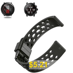 Soft #Silicone #Watch #Band #Wrist #Strap #for #Xiaomi #Huami #Amazfit #Pace #Stratos #2/2S #- #BLACK