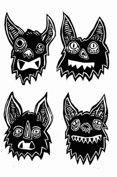 Let It Brew - Bats #print #illustration #art #woodcut #bats #wood carving