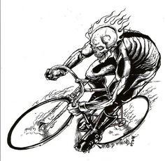 All sizes | Demon On A Track | Flickr - Photo Sharing! #fixed #fiend #illustration #lamoursupreme #bike #skull