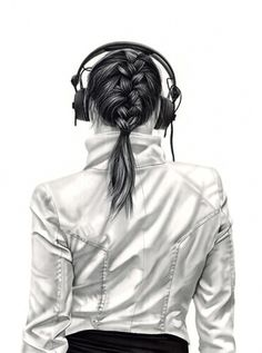 Charcoal Drawings by Yanni Floros - Girls with Headphones | Design.org #charcoal #illustration #art #sketches #drawing