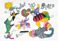 Salut Pablo - Niki de Saint Phalle - Auction House Stahl #retro #illustration #art #paintings #colour #fine