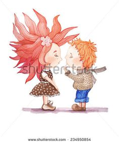 Girl and boy in anticipation of a kiss. A guy in a sweater, jeans. Girl in polka-dot dress. Watercolor painting on white background for gree #design #drawing #ilustration #people