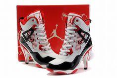 Nike Air Jordan 4 Heels Black/Red #shoes