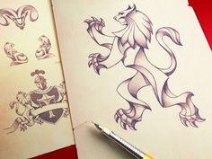 Heraldry Pencil Illustration #flag #lion #drawing #knight #crest #illustration #pencil #sketch