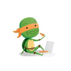 Michelangelo #tmnt #illustration #pizza #character #green