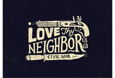 Love thy neighbor - cool #illustration #lettering #dark