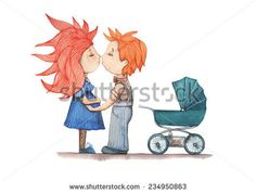 Boy and girl kissing. Pregnant woman in a green dress, the guy next to stroller worth it. Watercolor painting on white background for postca #design #drawing #ilustration #people