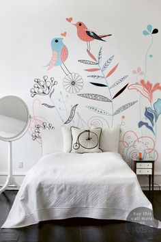 Song Birds #interior #mural #design #bedroom #decor #home #wall #bed