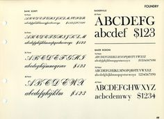 This type specimen shows Bank Script, Fry's/ATF Baskerville, and Bauer Bodoni. #type #specimen #font #typography