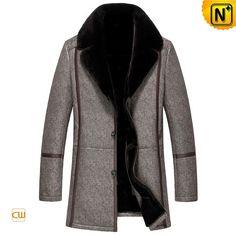 Mens Leather Shearling Sheepskin Coat CW851289