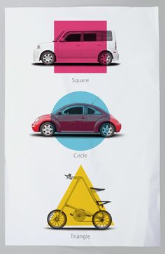 3 ICONIC Elements in Transportation Design on the Behance Network #automotive #scion #xb #beetle #strida #triangle #square #circle