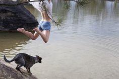Alice Védrine #water #photo #jump #joy #dog