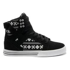 Supra Skytop Black White Snowflake Leatehr Trainers Womens