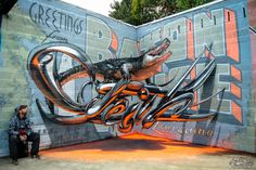 Odeith aligator stading on Anamorphic 3d chrome letters Greetings from Baton Rouge #graffiti #anamorphic #odeith