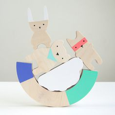 Wood Balancing Game #wood #balance #kids #bear #rabbit #toy #baby