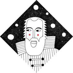 Galileo Galilei #illustration #drawing #charles darwin #science #portrait #astronomy #italy
