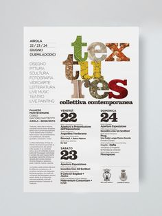Textures Collettiva Contemporanea 2012 on Behance #festival #clean #exhibition #textures #art #layout #typography