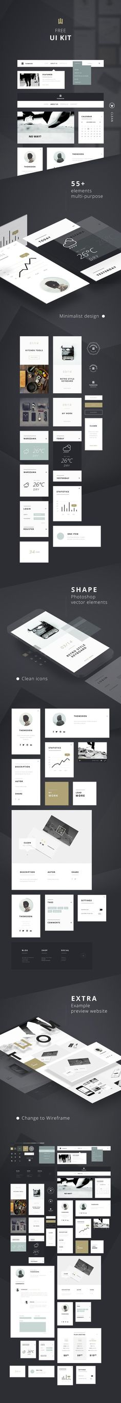 55+ Elements FREE UI KIT | Clean white [DOWNLOAD] #ux #psd #free #ui #kit