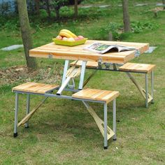 Easily transport this picnic table by carrying it like a briefcase. #design #product #modern #lifestyle #outdoor