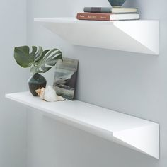 Floating Wedge Shelf - White