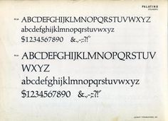 Type specimen of Palatino #type #specimen #typography