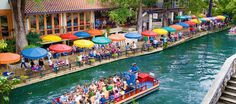 Riverwalk #water #riverwalk #umbrellas #san #antonio #colors #boat #river