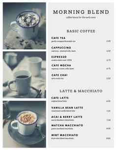 Monochromatic Coffee Collage Menu