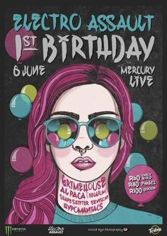 Electro Assault 1st Birthday Poster