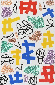 JONATHAN LASKER THE HANDICAPPER´S FAITH, 2011 (DETAIL) PRIMARY YELLOW #illustration